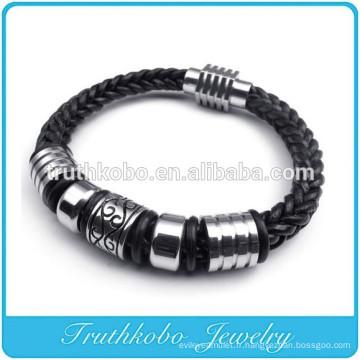 Mode Vintage Corde DIY Transfert perles en cuir Bracelets Pour Femme En Gros Noir Guninue Bracelets En Cuir