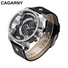 Doppelbewegungs-Armbanduhr für Männer mit Pusher-Silber-Kasten-Lederband