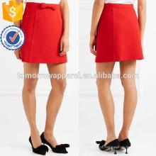 Bow-Embellished Red Summe Mini Saia Com Fabricação De Bolso Atacado Moda Feminina Vestuário (TA0010S)