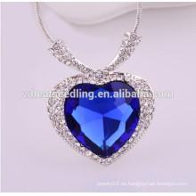 Corazón de cristal austríaco del collar del océano
