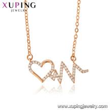44465 Xuping nouvelle arrivée femmes bijoux en forme de coeur en or rose plaqué pendentif collier avec zircon