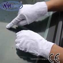NMSAFETY 100% coton blanchi inspection des gants de couture en utilisant un gant de sécurité
