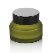 15/20/30/50 ml tarro cosmético de vidrio esmerilado verde tarro cosmético de vidrio de cuidado personal con tapa de plástico negro tornillo crema tarro de crema venta caliente