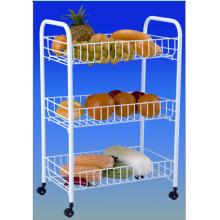 Chariot de panier à fruits et légumes en acier inoxydable à trois couches