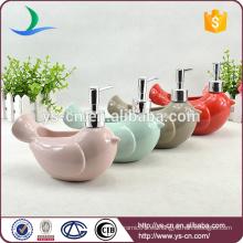 YSb10022 disponible color jabón de cerámica mano dispensador forma de pájaro