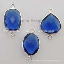 Großhandel 925 Sterling Silber Lünette Einstellung Steckverbinder, Blue Sapphire Quarz Natürliche Edelstein-Steckverbinder