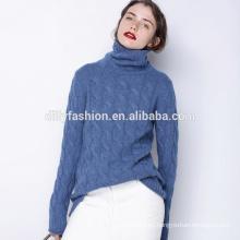 Suéter de cuello alto de punto de cachemira suéter flojo para mujer