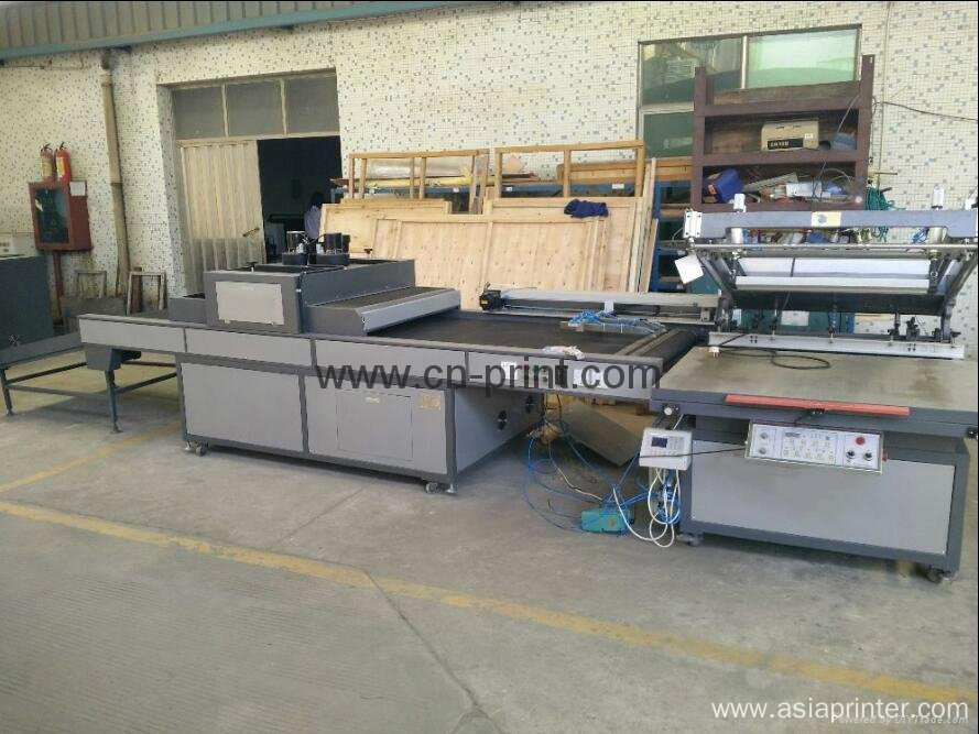 automatic flatbed screen printer with UV dryer