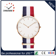 2016 Hot Sale Stainless Steel Swiss Watch with Colorful Strap (DC-826)