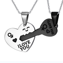 Stainless Steel Couples Love Key Pendant