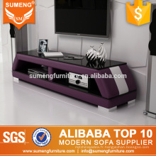 mode chinoise nouveau modèle violet blanc tv stand verre en vente