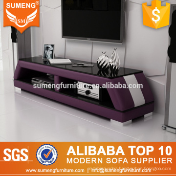 chinese fashion new model purple white tv stand glass on sale