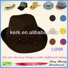 2013 Sombrero de paja de papel rebordeado más nuevo del verano de la alta calidad el 100%, LSP08