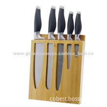 5-piece Kitchen Knife Set, SS Blades with Hollow Handle and Bamboo Wooden Block Set, New Design