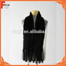 Chal de piel de visón negro de color natural