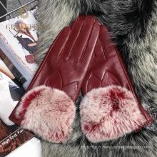 Fabriqué en Chine dernière conception mode de véritables gants de fourrure