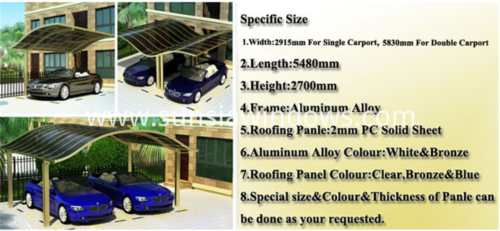 Specification of European Style Aluminum Double Carport