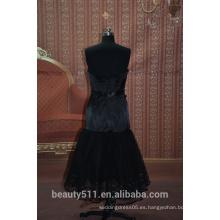 EN STOCK negro fuera del hombro vestido de fiesta sin mangas corto vestido de fiesta de baile de fin de curso 16 SE03