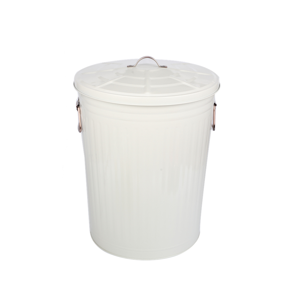 white color trash can