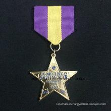 Medalla de la combinación personalizada Znic aleación medalla medalla de oro medalla estrella cinco puntas dos pieza