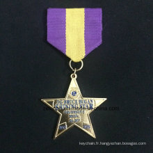 Alliage Znic personnalisé la médaille d'or médaille étoile cinq branches deux pièce combinaison médaille