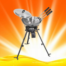 Outdoor Use Cooking Gas Burner with Woks and Accessories