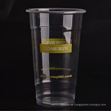 Transparente de las tazas plásticas de encargo
