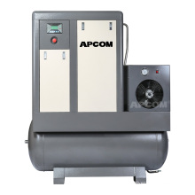 APCOM Low Noise All-in-one screwaircompressor10HP aerzen combined screw air compressor 10 hp 7.5KW with tank and dryer filter