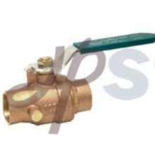 válvula de bola de bronce de fundición de alta calidad con drenaje