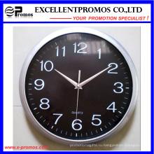 Серебряная рамка печать логотипа Круглые пластиковые настенные часы (Item12)