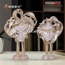 Decoración elegante hogar enmascarado cabeza humana decoración de la mesa polyresin arte y artesanía
