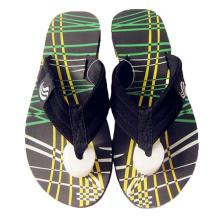 New design 2021 trendy green tropical yellow stripe men beach sandal EVA slippers