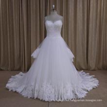Pretty Layers Lace Train Wedding Dress 2016 Nueva llegada