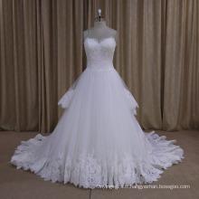 Jolie robe de mariée en dentelle de train de couches 2016 nouvelle arrivée