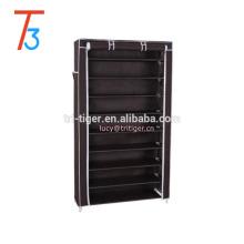 10 Tiers Shoe Rack with Cover Closet Shoe Storage Cabinet Organizer Dark Brown