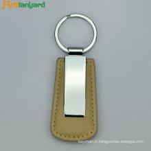 Porte-clés en cuir avec logo de promotion