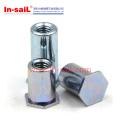 Écrou autobloquant / bloquant hexagonal de carbone / d'acier inoxydable, écrou affleurant d'individu