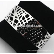 Brazaletes de plata huecos de acero inoxidable 316L de alto brillo