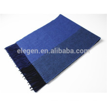 Men Multicolor Yarn Dyed Cashmere Stole With Fringe