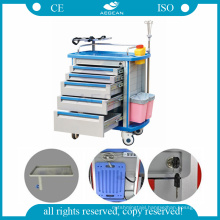 AG-ET001A1 ABS plastic furniture nurse mobile cart medical clinical trolley