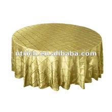 Tafetá de pano de mesa-redonda de casamento dourado pintuck