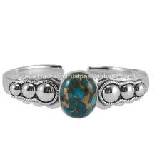Natural azul de cobre amarillo turquesa piedras preciosas 925 brazalete de plata esterlina