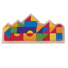 Замок Блоки красочный деревянный Геометрический строительный блок в деревянной коробке