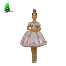 noiva ornamento de estatueta de boneca de princesa rosa de vidro