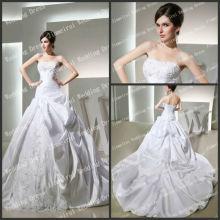 Satén blanco sin tirantes óptimo del cordón del vestido de bola 2013 vestidos nupciales de la muestra verdadera al por mayor