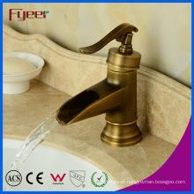Fyeer Teapot Bathroom Waterfall Antique Brass Basin Faucet