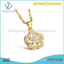 Collar de diamante de la flor del diseño de las señoras, joya del collar del cobre de la vendimia