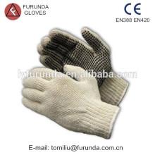 Natural branco algodão luvas pvc pontos luvas de borracha pontilhada luva de algodão
