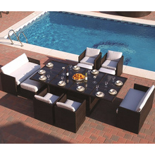 Outdoor rattan furniture rattan wicker chair dining sets with ottoman