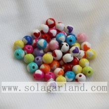 China supplier OEM for plastic pearl beads Beautiful Ball Solid Opaque Jewelry Acrylic Beads With Heart Shape On It supply to Palau Supplier